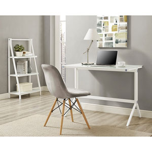 48-inch Glass Desk and Shelf Combo - White