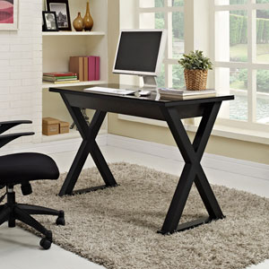 Home Office 48-inch Black Glass Computer Desk