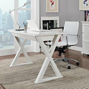 Home Office 48-inch White Glass Computer Desk