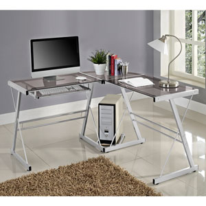 3-Piece Contemporary Desk - Silver/Smoke
