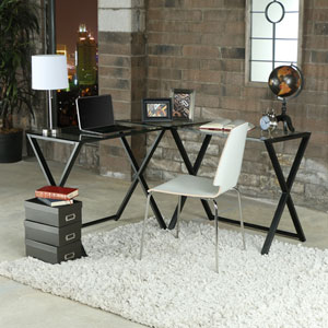 Clear/Black X-Frame Glass and Metal L-Shaped Computer Desk