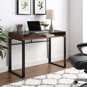 42-Inch Modern Glass Top Desk- Dark Walnut/Black