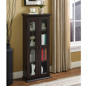 41-inch Espresso Wood Media Tower Cabinet