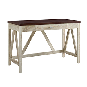46-Inch A-Frame Desk, White Oak Base/Traditional Brown Top