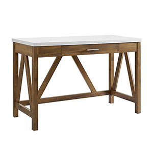 46-Inch A-Frame Desk, Natural Walnut Base/White Marble Top