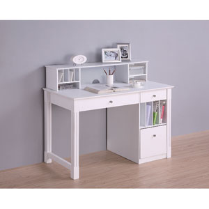 White Deluxe Solid Wood Desk with Hutch
