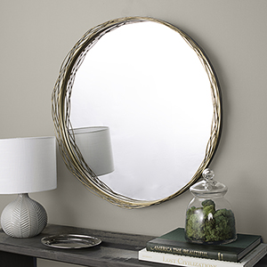 32-Inch Round Mirror with Wire Nest Frame - Gold