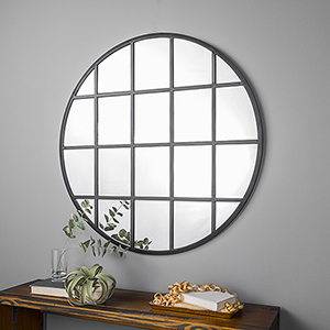 40-Inch Round Beveled Window Mirror