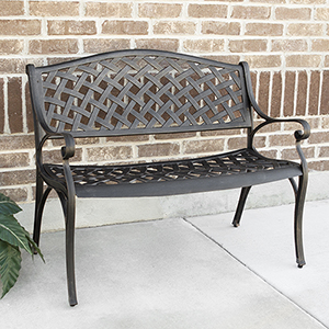 42-Inch Cast Aluminum Wicker Style Bench - Antique Bronze