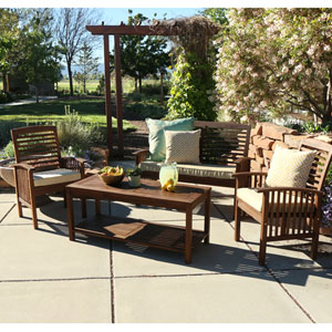 4-Piece Dark Brown Acacia Patio Conversation Set with Cushions