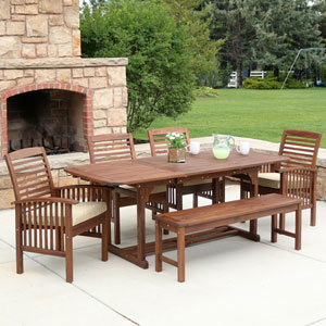6-Piece Dark Brown Acacia Patio Dining Set with Cushions