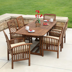 7-Piece Brown Acacia Patio Dining Set with Cushions