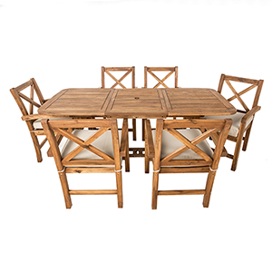 7-Piece X-Back Acacia Patio Dining Set with Cushions