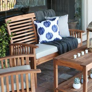 Acacia Wood Patio Loveseat Bench - Brown