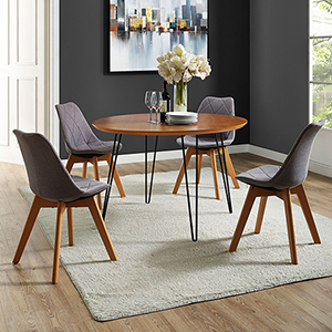 46-Inch Round Hairpin Leg Dining Table - Walnut