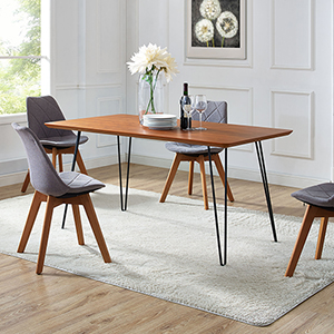 60-Inch Hairpin Leg Dining Table - Walnut