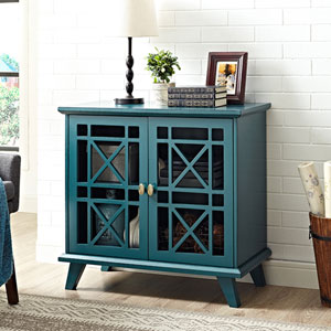 32-inch Gwen Fretwork Accent Console - Blue