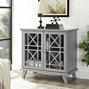 32-inch Gwen Fretwork Accent Console - Gray