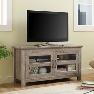 44-inch Wood TV Stand with Glass Doors - Driftwood