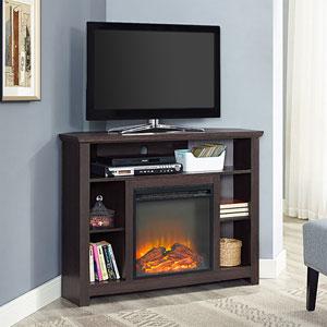 44-inch Wood Corner Highboy Fireplace TV Stand - Espresso