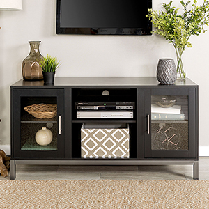52-Inch Avenue Wood TV Console with Metal Legs - Black
