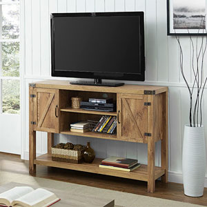 52-inch Barn Door Buffet Table Console TV Stand - Barnwood