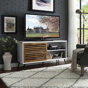52-Inch TV Console with Sliding Door - White/Barn wood