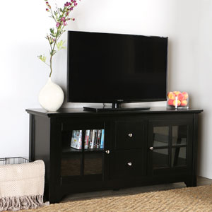 Matte Black 52-Inch Wood TV Console