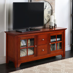 Solid Wood 52 Inch TV Console with Drawers