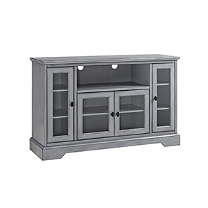 52-Inch Wood Highboy TV Media Stand Storage Console - Antique Grey