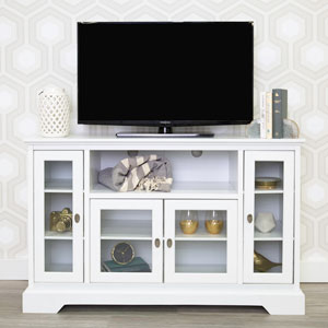 52-inch Highboy Style Wood TV Stand - White
