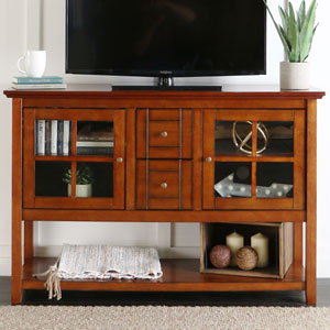 52-inch Wood Console Table TV Stand - Rustic Brown