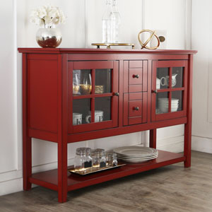 52-inch Wood Console Table TV Stand - Antique Red