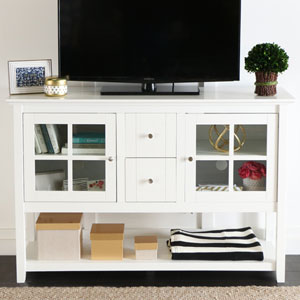 52-inch Wood Console Table TV Stand - White