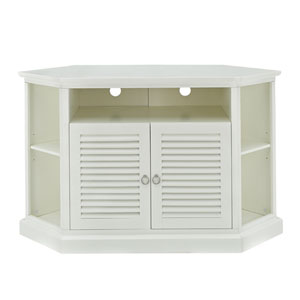 White 52 In. Wood Corner TV Console