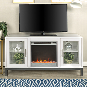 52-Inch Avenue Wood Fireplace TV Console with Metal Legs - White