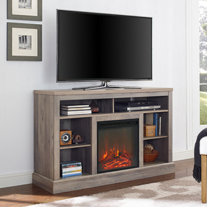 52-Inch Fireplace Tall TV Console with Open Storage - Grey Wash