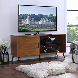 52-Inch TV Stand with Black Legs - Pecan
