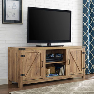 58-inch Barn Door TV Stand with Side Doors - Barnwood