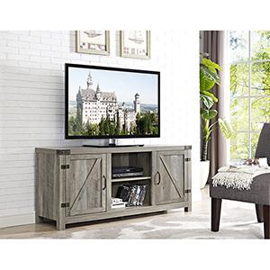58-Inch Barn Door TV Stand with Side Doors - Grey Wash