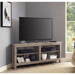 58-inch Corner TV Stand - Driftwood