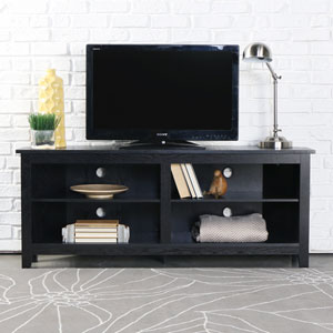58-inch Wood Corner TV Console - Black
