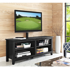 58-inch Wood TV Console with Mount - Black