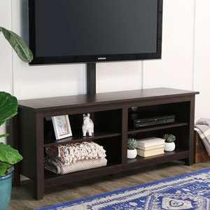 58-inch Wood TV Console with Mount- Espresso