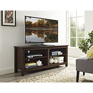 58-Inch Wood TV Media Stand Storage Console - Traditional Brown