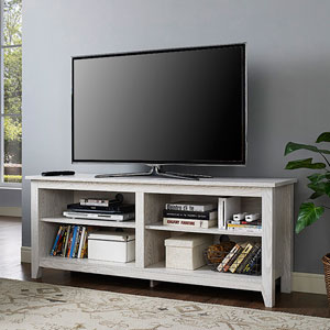 58-inch White Wash Wood TV Stand
