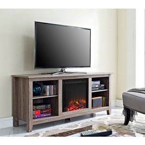 58-inch Driftwood TV Stand with Fireplace Insert