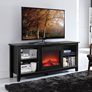58-inch Black Wood TV Stand with Fireplace Insert