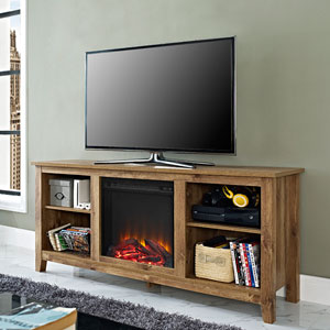 58-inch Barnwood TV Stand with Fireplace Insert