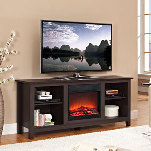 58-inch Espresso Wood TV Stand with Fireplace Insert